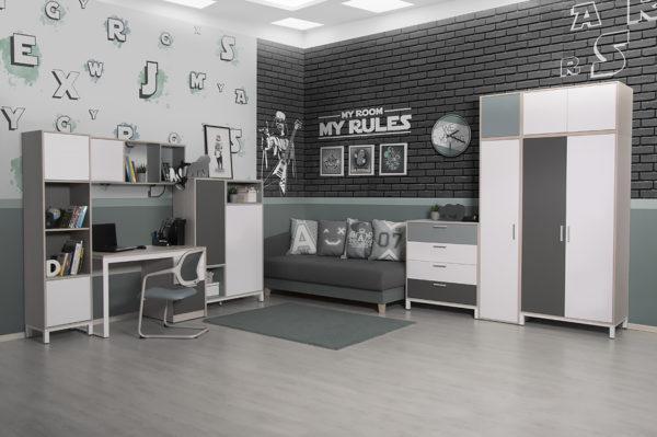 """modulnaya sistema porte academy 16 600x399 - Мебель для подростковой комнаты """"Портэ академия"""""""