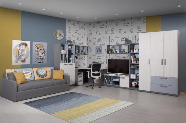 """podrostkovaya modylnaya sistema rumika 1 600x399 - Мебель для подростковой комнаты """"Румика"""""""